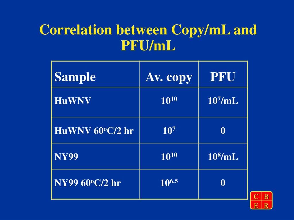 Correlation between Copy/mL and PFU/mL