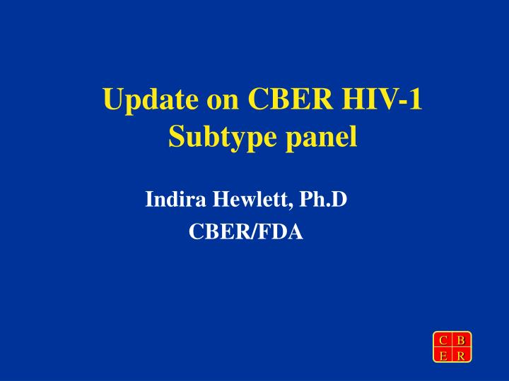 Update on cber hiv 1 subtype panel l.jpg