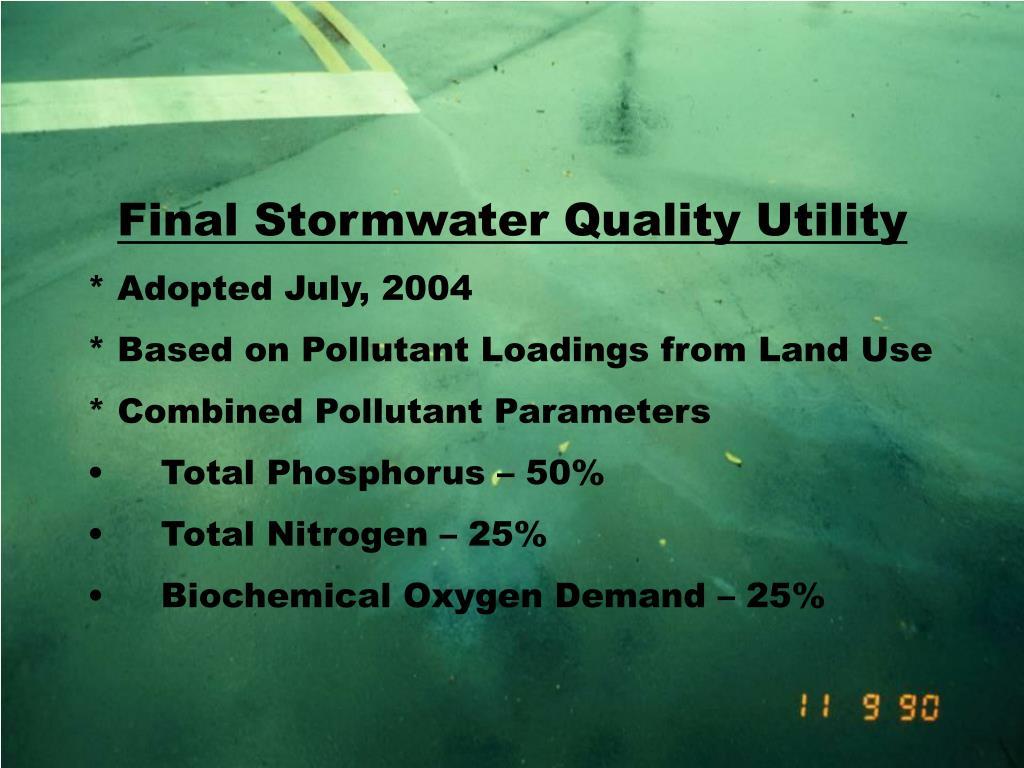 Final Stormwater Quality Utility