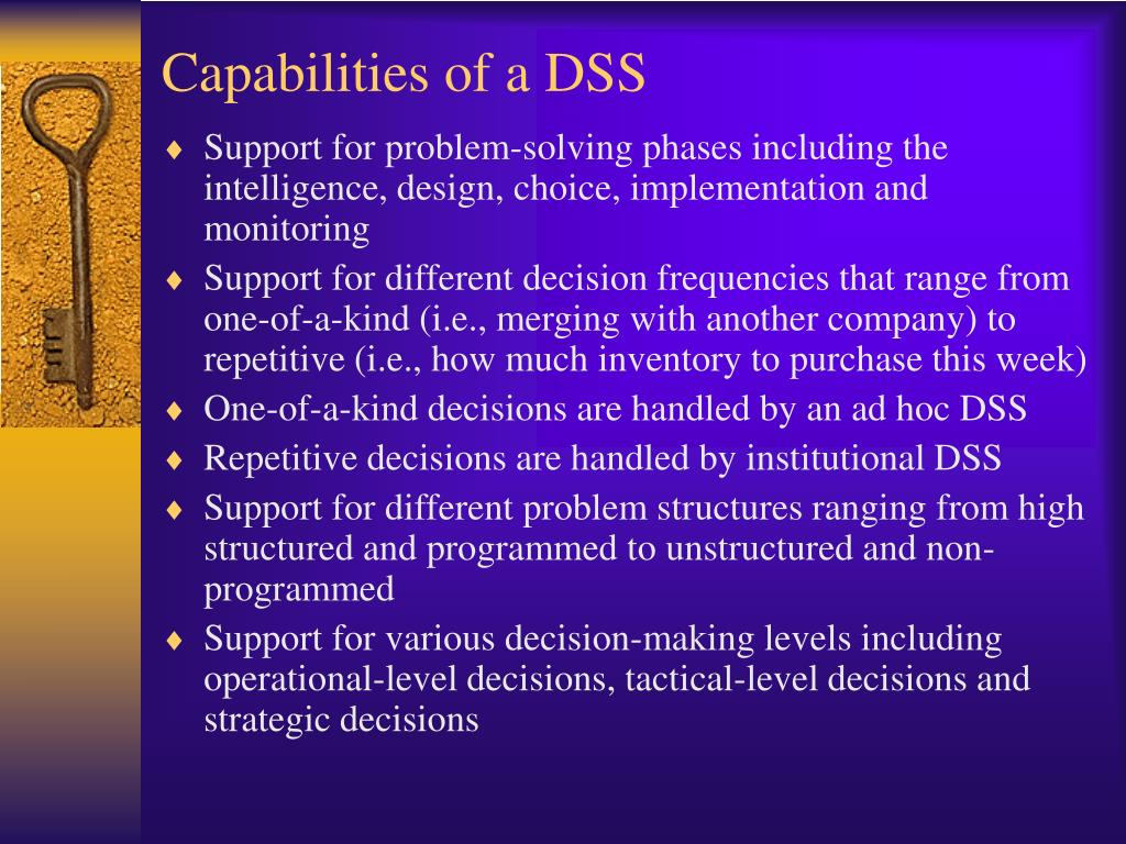 Capabilities of a DSS