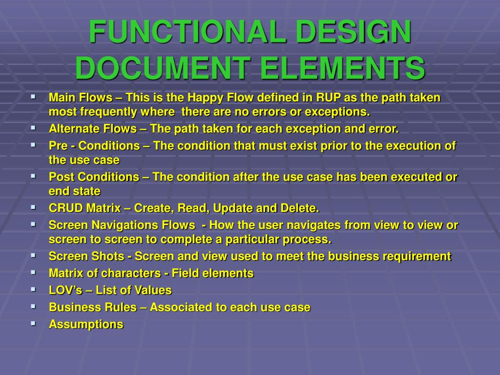 FUNCTIONAL DESIGN DOCUMENT ELEMENTS