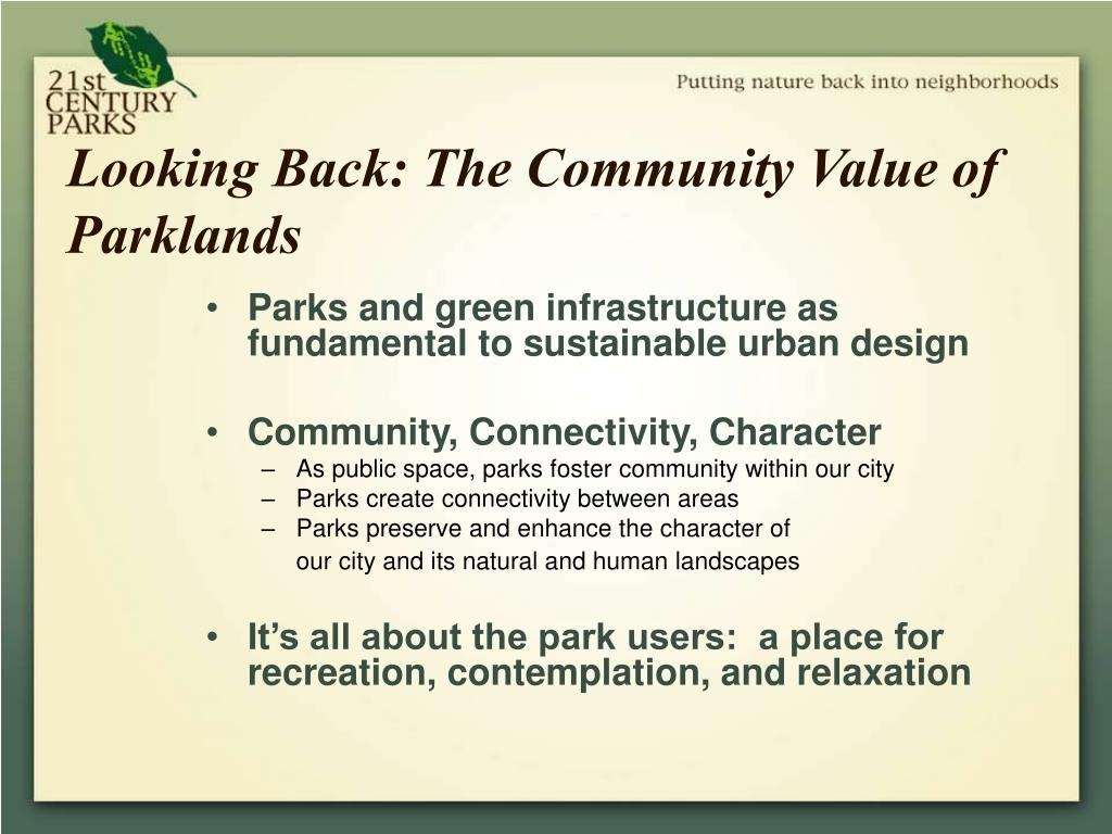 Looking Back: The Community Value of Parklands