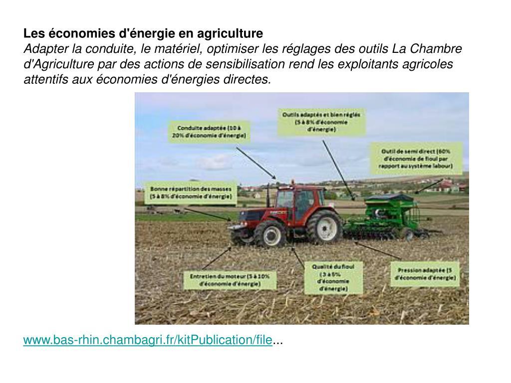 Les économies d'énergie en agriculture
