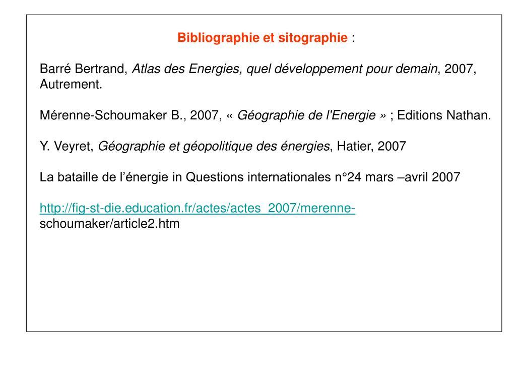 Bibliographieet sitographie