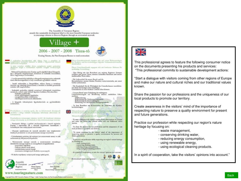 This professional agrees to feature the following consumer notice on the documents presenting his products and services: