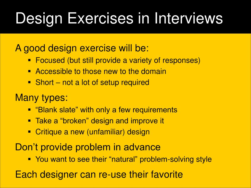 Design Exercises in Interviews