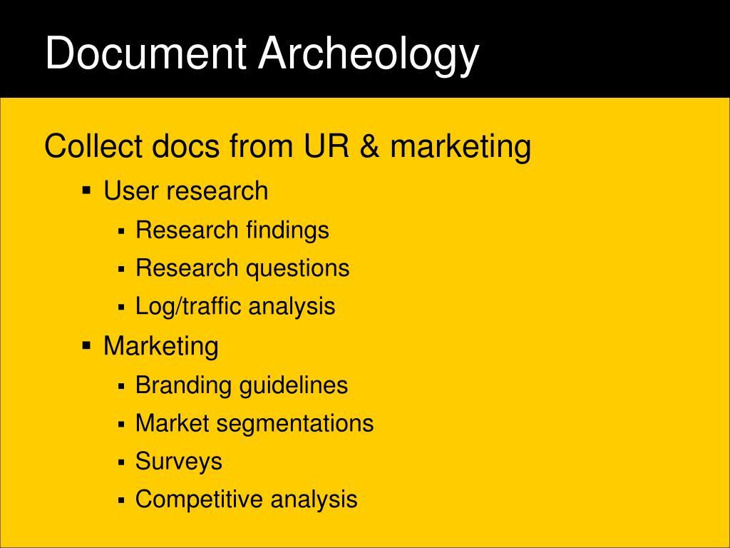 Document Archeology