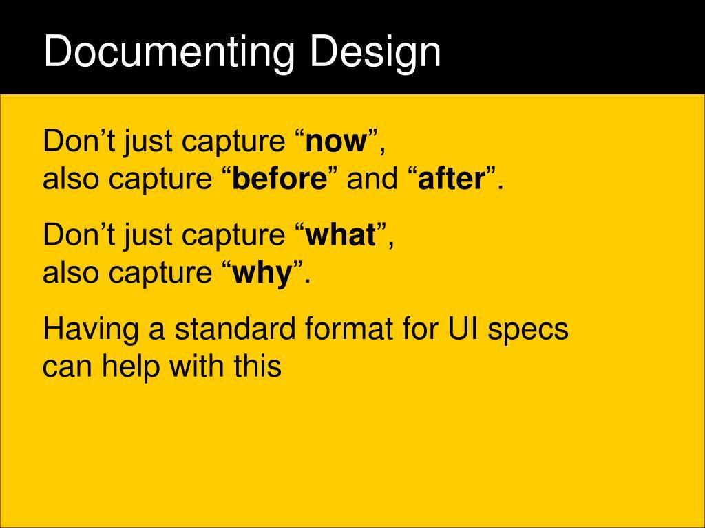 Documenting Design
