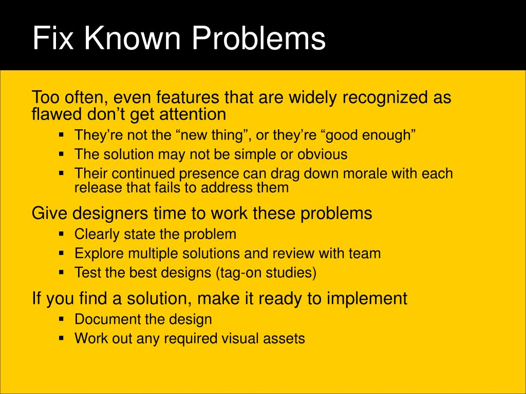 Fix Known Problems