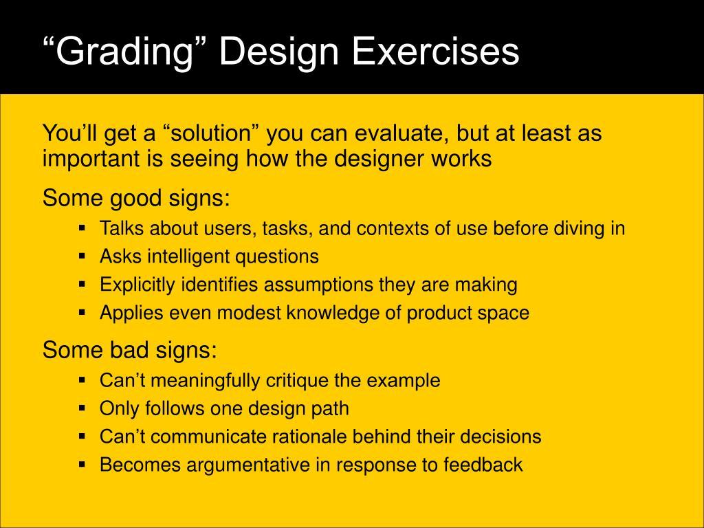 """Grading"" Design Exercises"