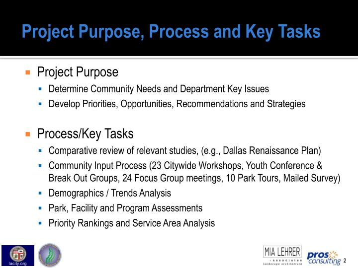 Project purpose process and key tasks
