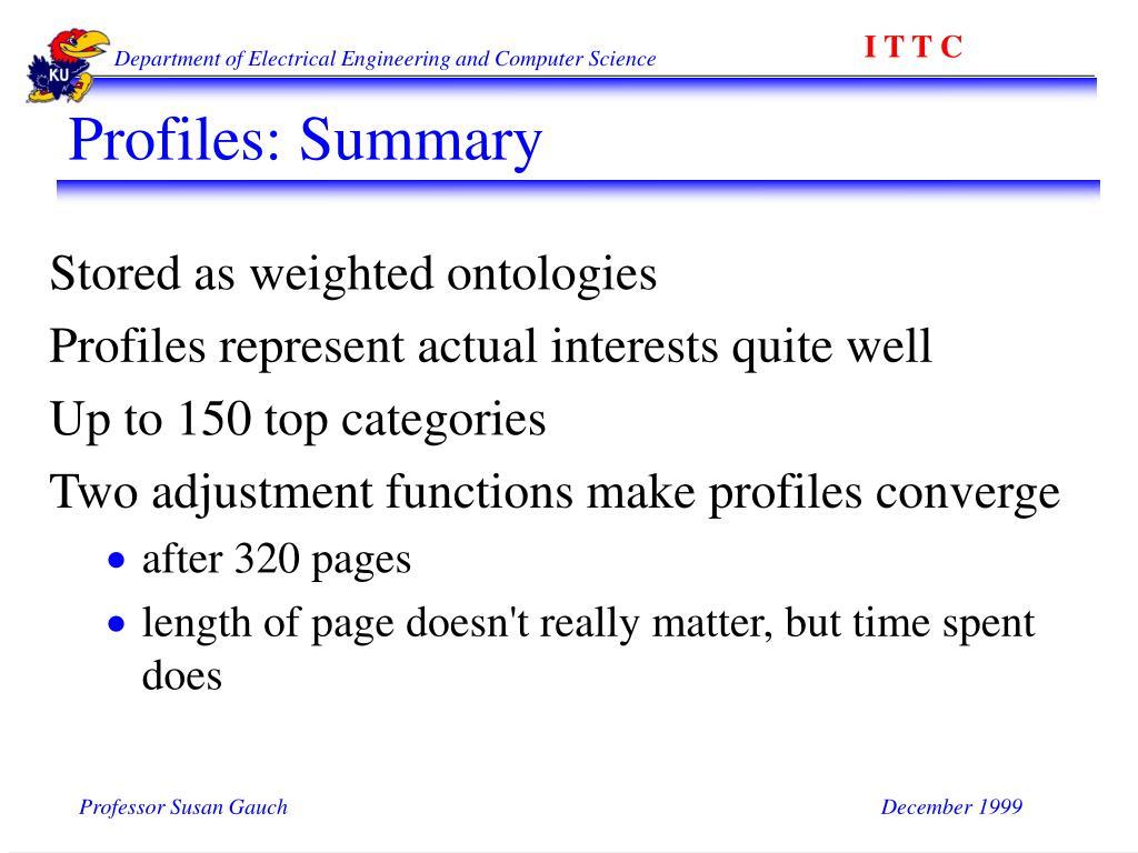 Profiles: Summary