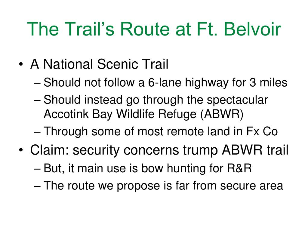 The Trail's Route at Ft. Belvoir