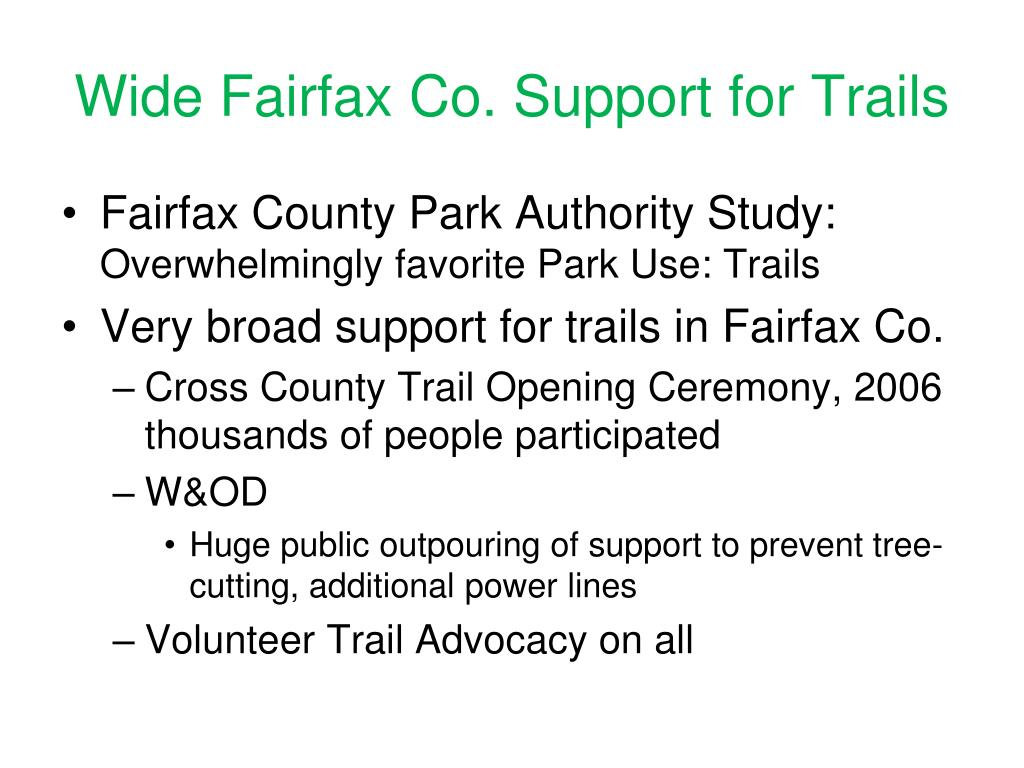 Wide Fairfax Co. Support for Trails