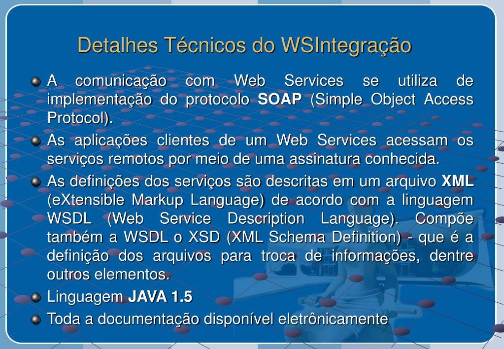 Detalhes Técnicos do WSIntegração