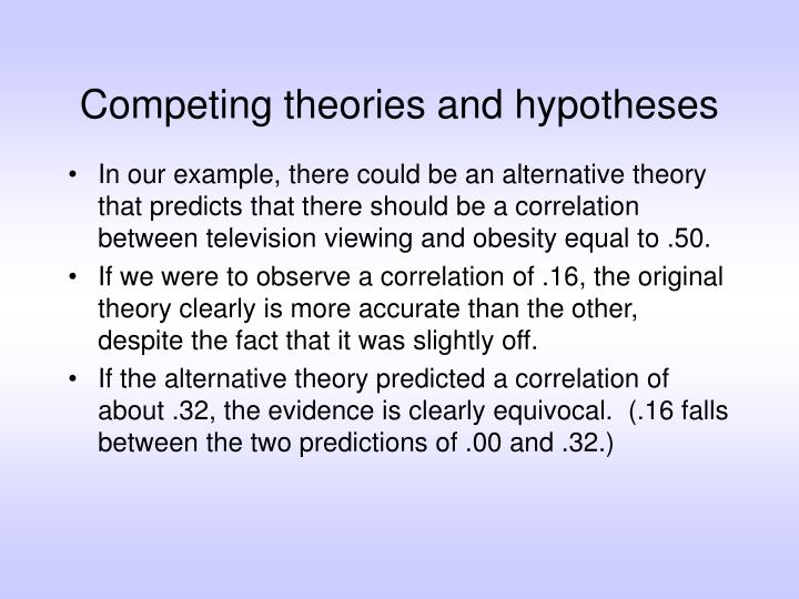 Competing theories and hypotheses