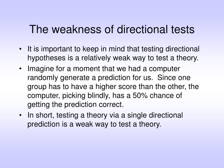 The weakness of directional tests