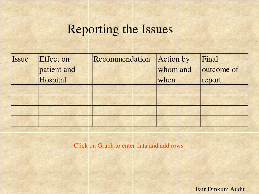 Reporting the Issues