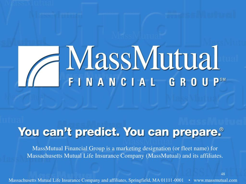 MassMutual Financial Group is a marketing designation (or fleet name) for Massachusetts Mutual Life Insurance Company (MassMutual) and its affiliates.