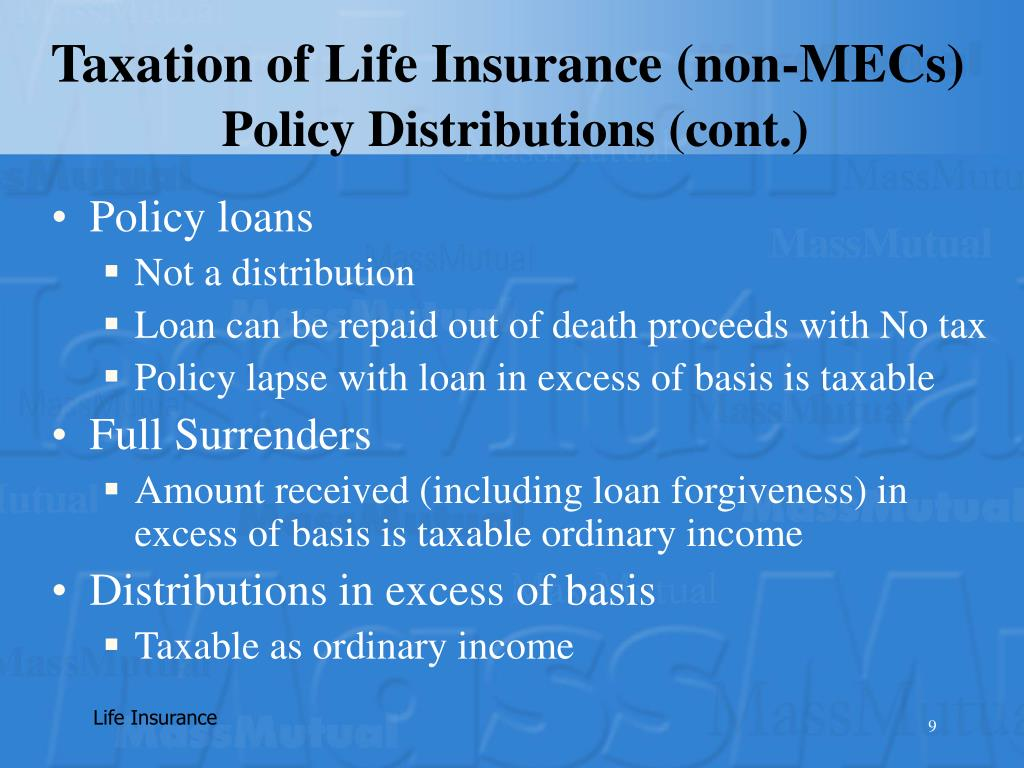Taxation of Life Insurance (non-MECs)