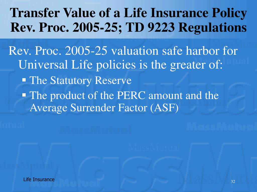 Transfer Value of a Life Insurance Policy