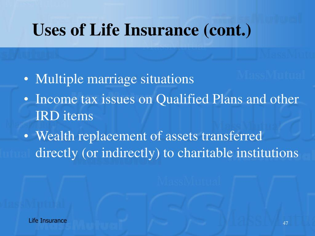 Uses of Life Insurance (cont.)