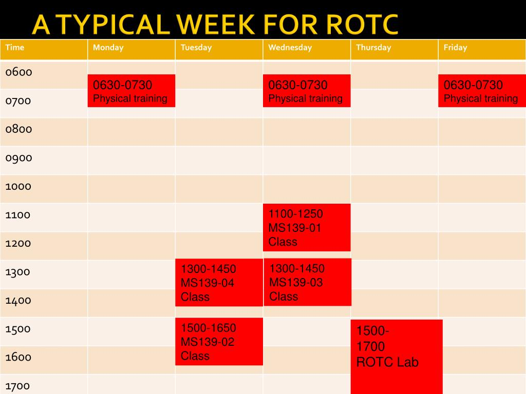 A TYPICAL WEEK FOR ROTC
