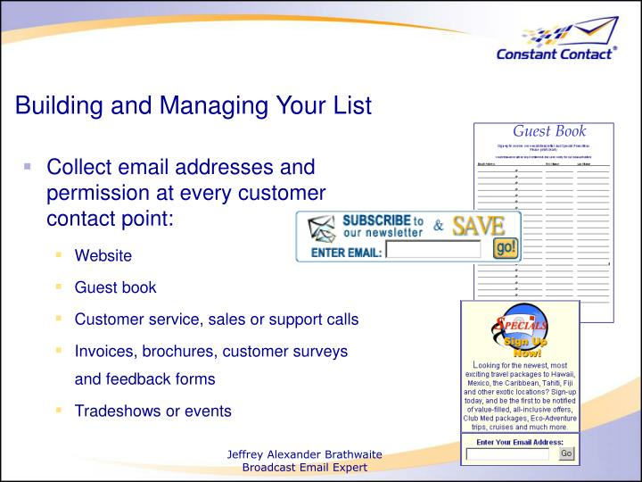 Building and managing your list