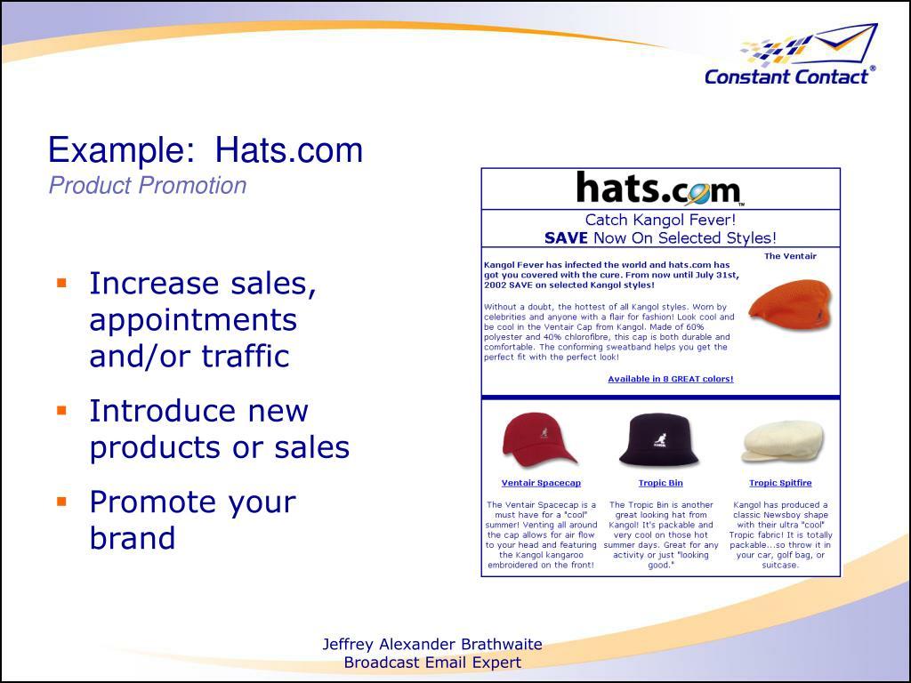 Example:  Hats.com