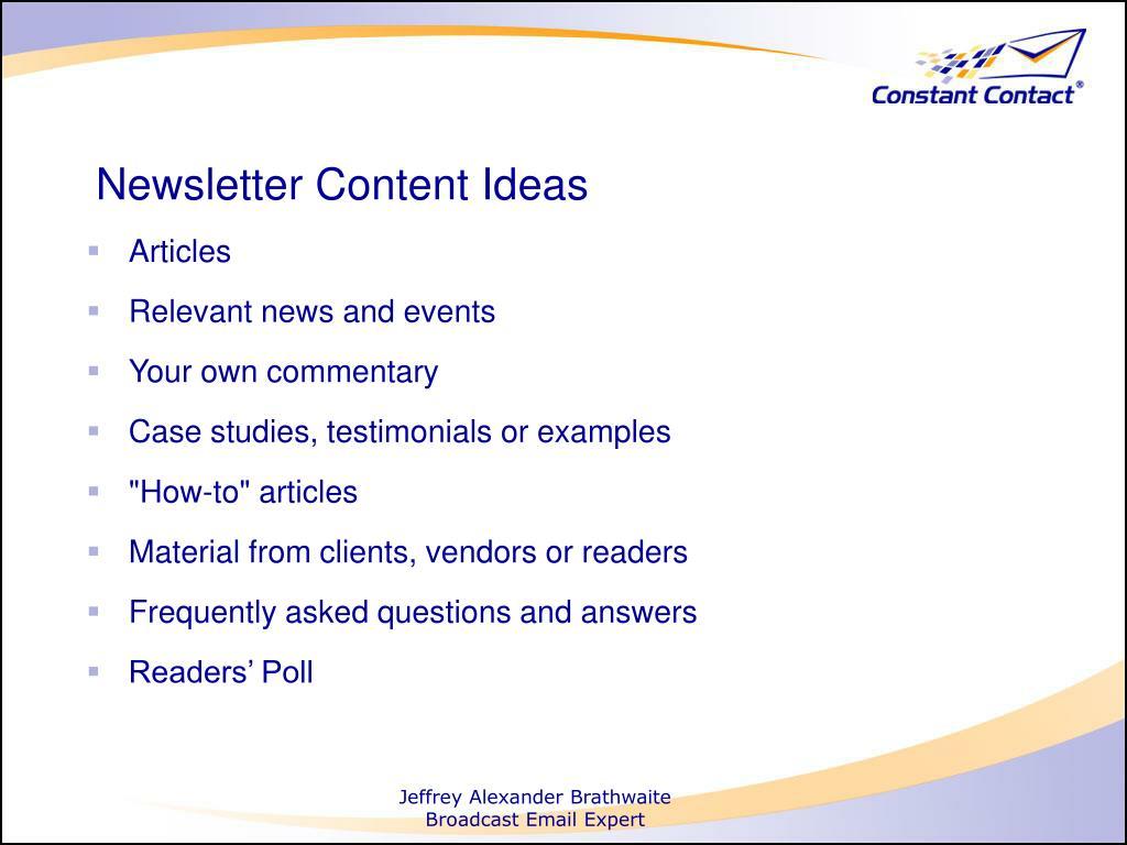 Newsletter Content Ideas