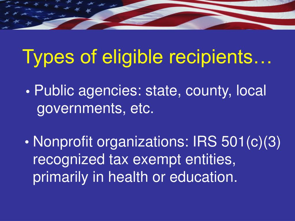 Types of eligible recipients…