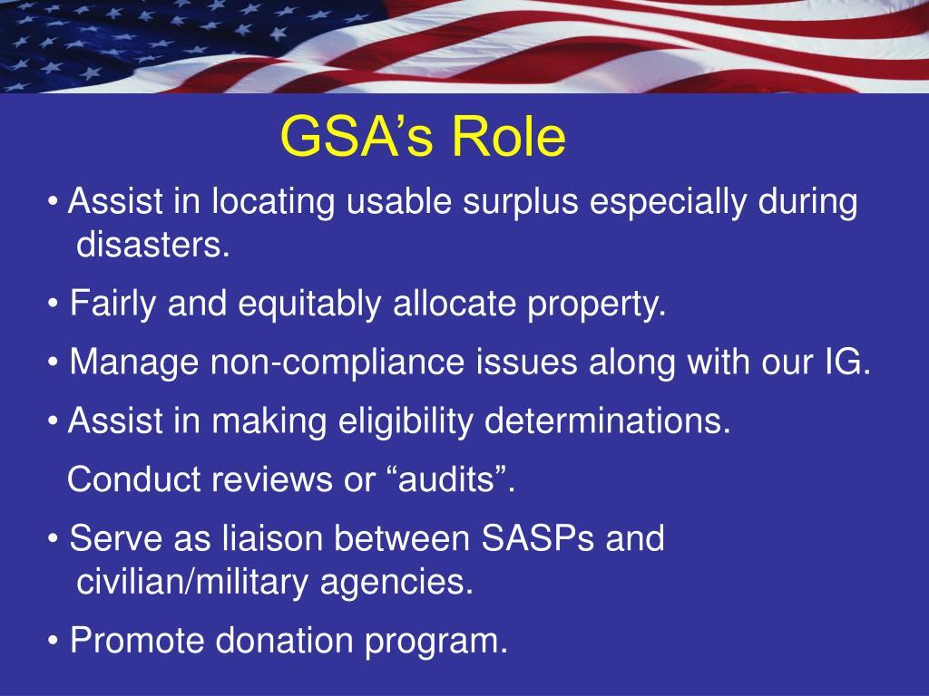 GSA's Role