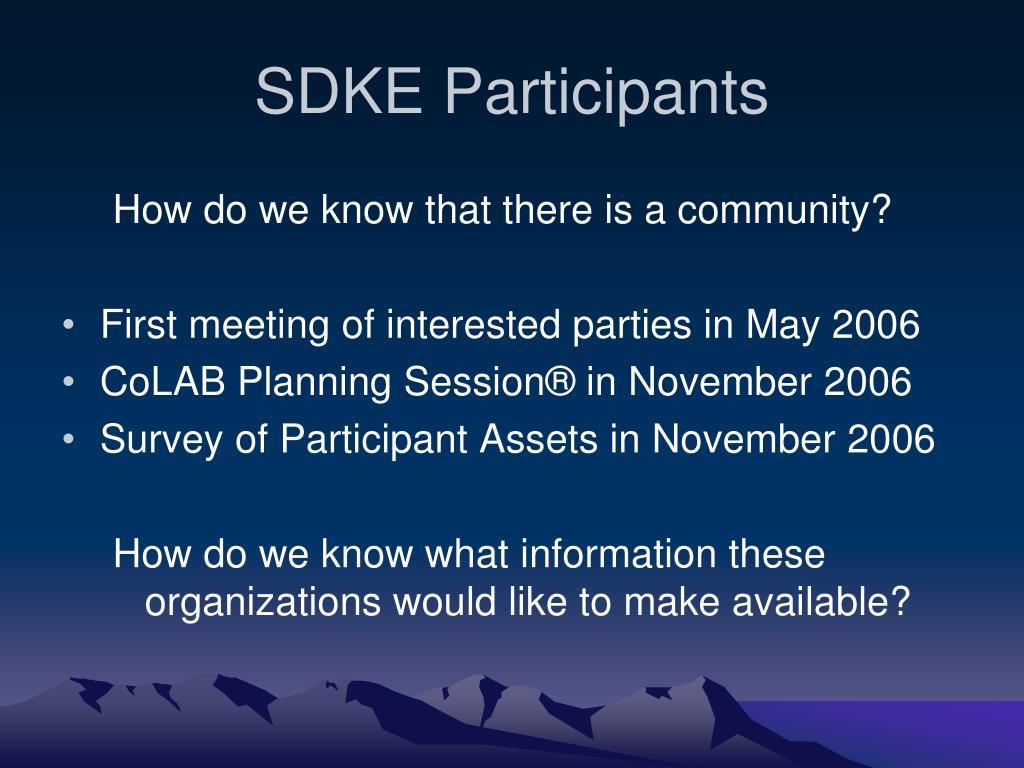 SDKE Participants