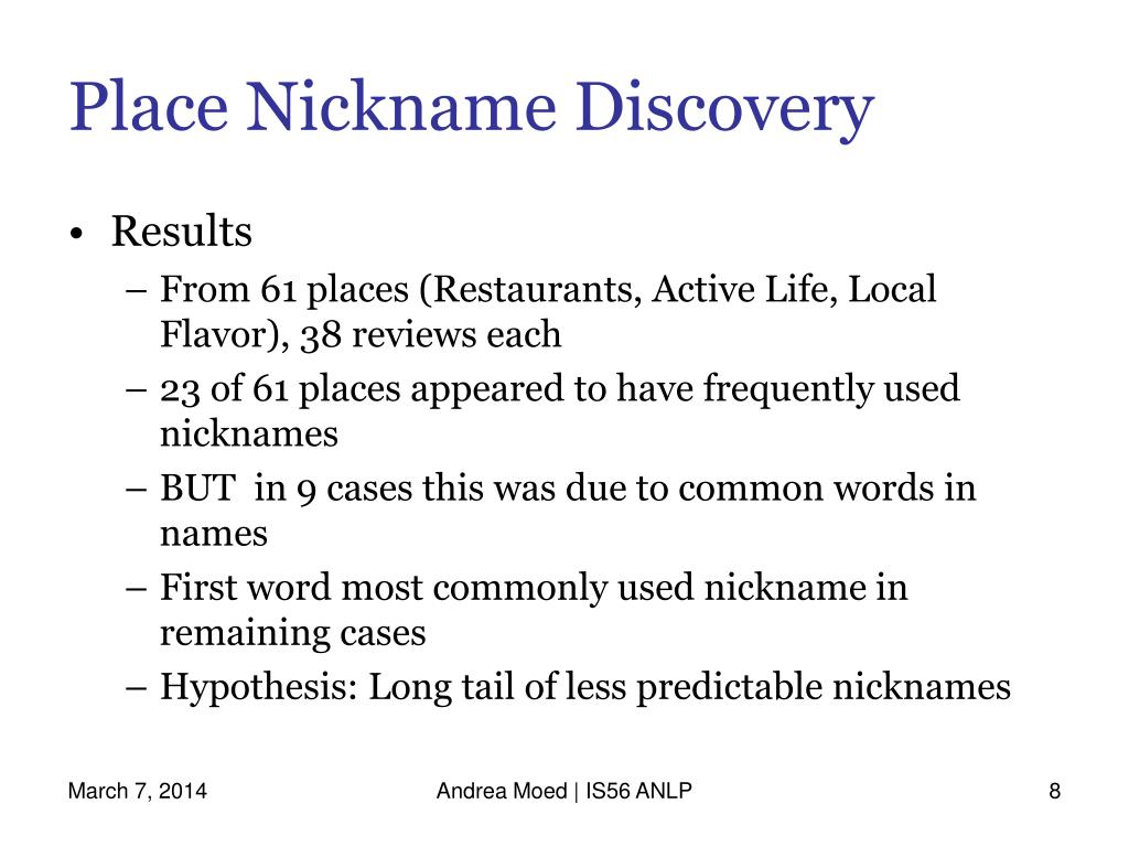 Place Nickname Discovery
