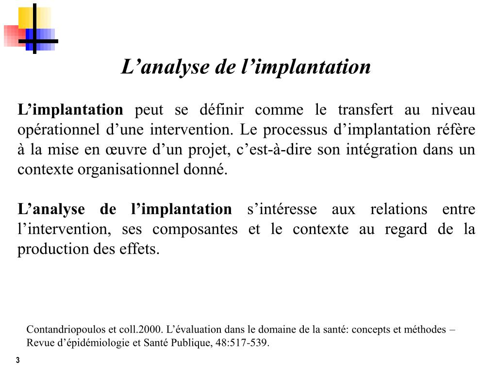 L'analyse de l'implantation