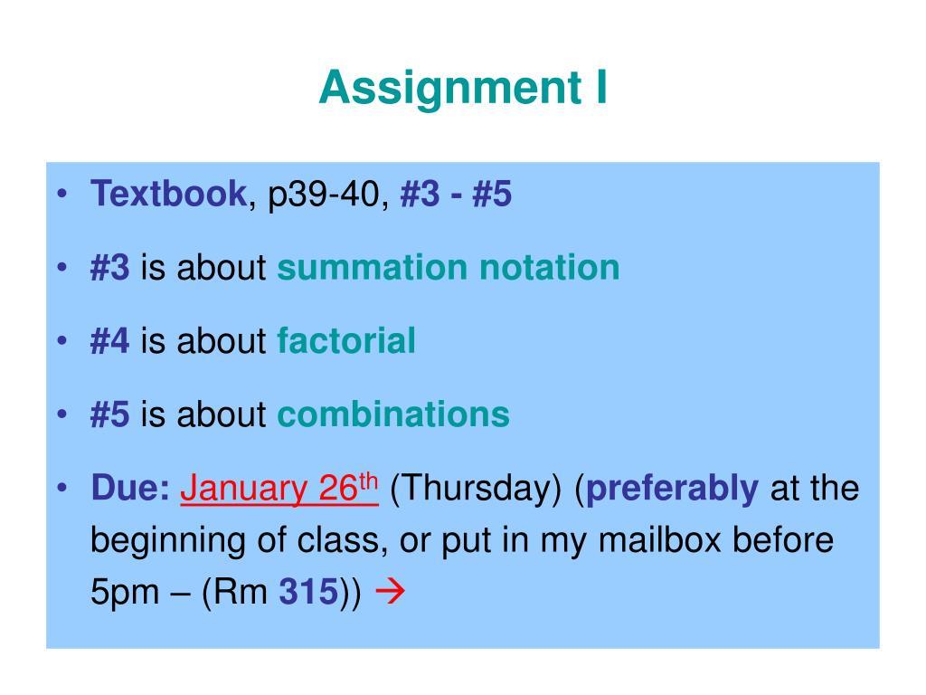 Assignment I