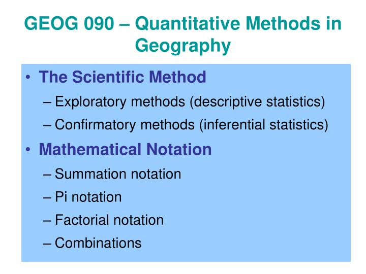 Geog 090 quantitative methods in geography