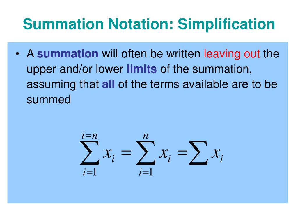 Summation Notation: Simplification