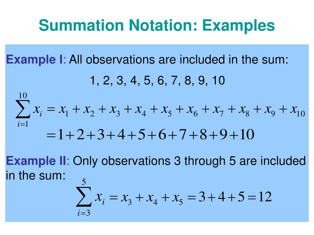 Summation Notation: Examples
