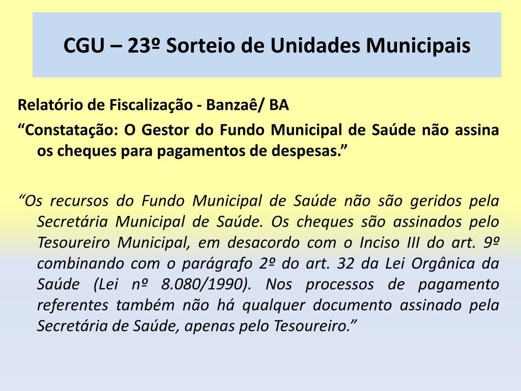 CGU – 23º Sorteio de Unidades Municipais