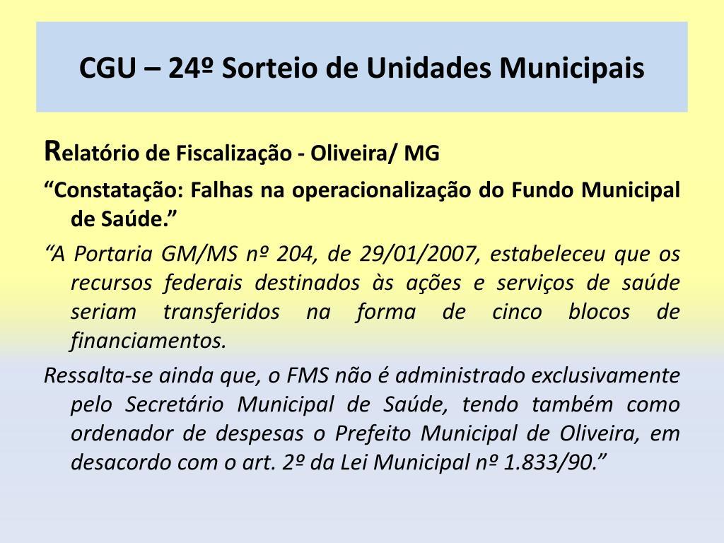 CGU – 24º Sorteio de Unidades Municipais