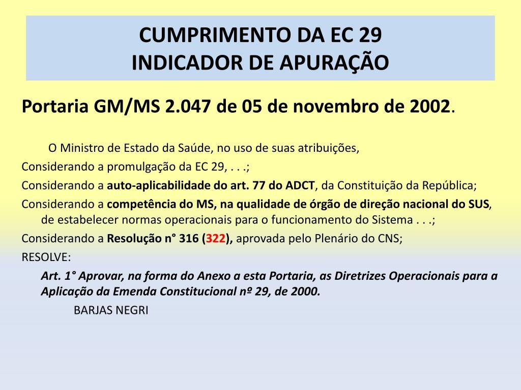 CUMPRIMENTO DA EC 29