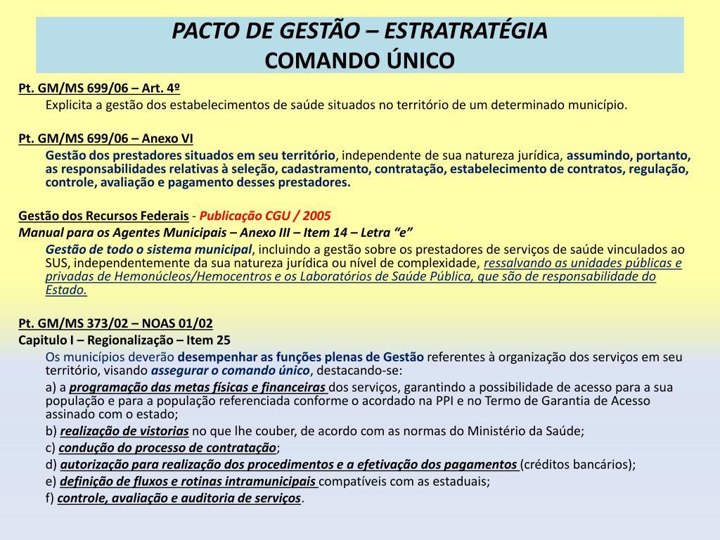 PACTO DE GESTÃO – ESTRATRATÉGIA