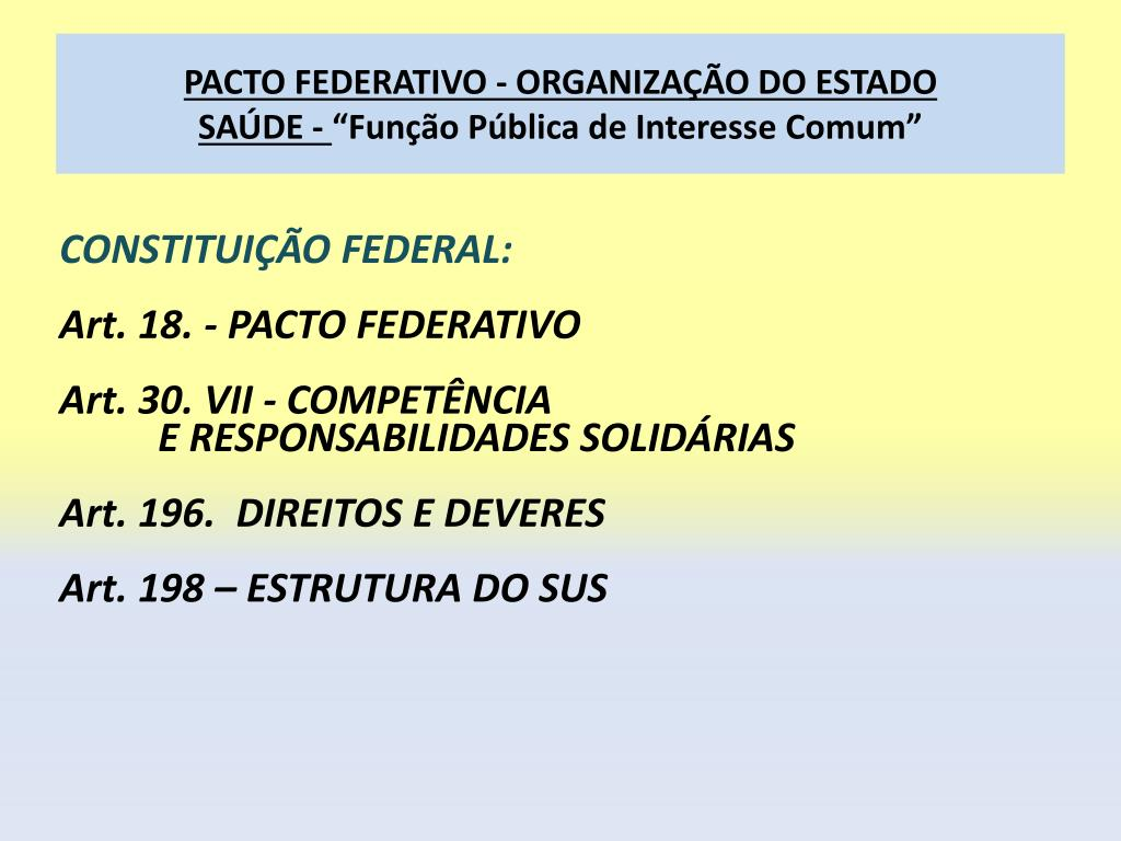 PACTO FEDERATIVO - ORGANIZAÇÃO DO ESTADO