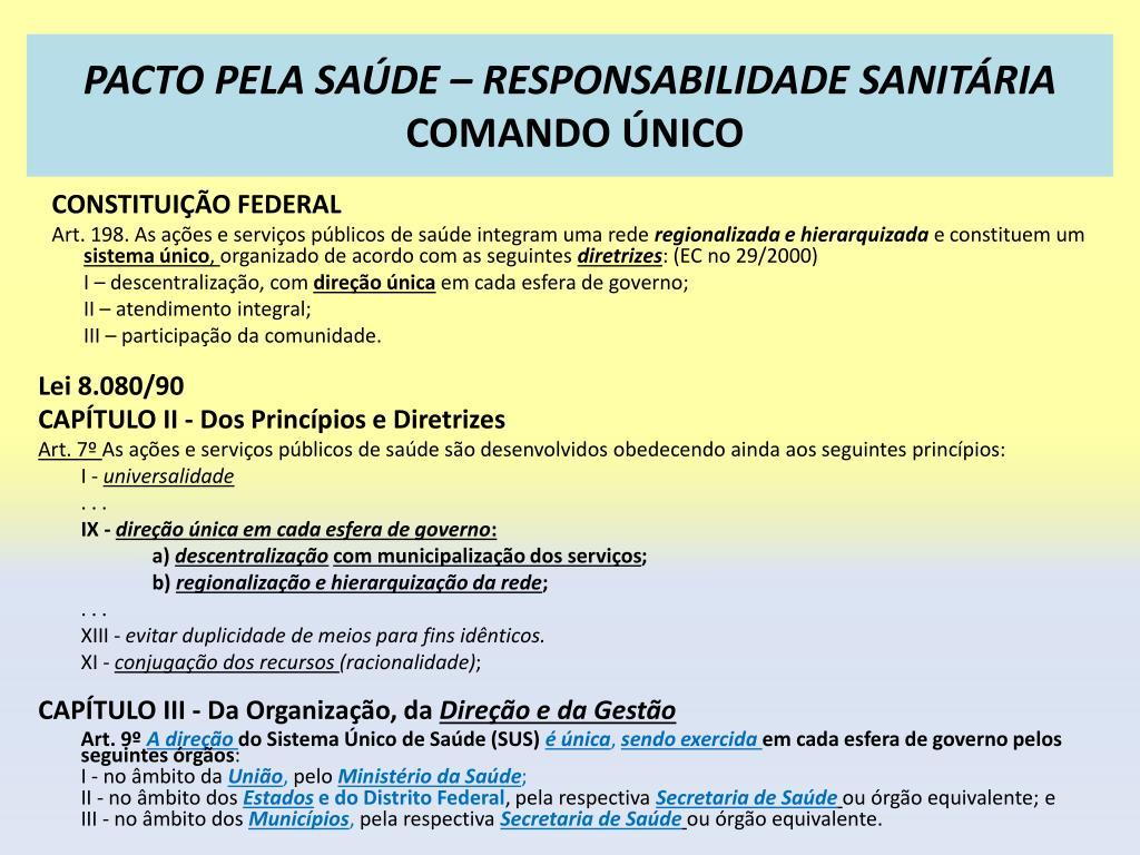 PACTO PELA SAÚDE – RESPONSABILIDADE SANITÁRIA