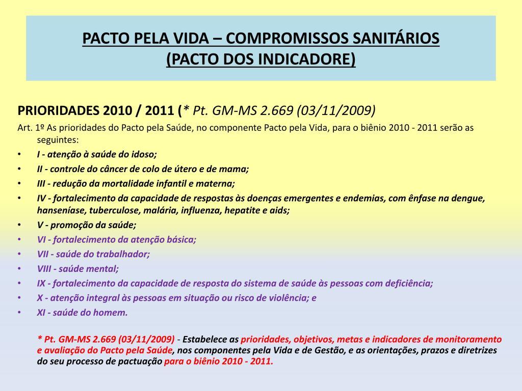 PACTO PELA VIDA – COMPROMISSOS SANITÁRIOS