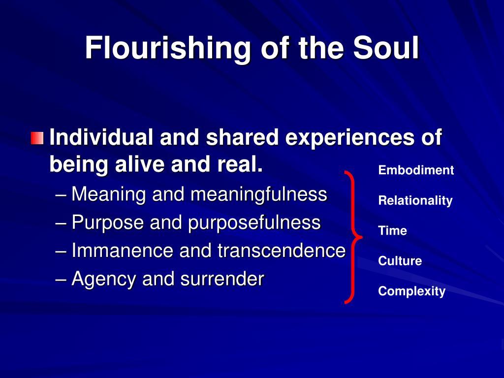 Flourishing of the Soul