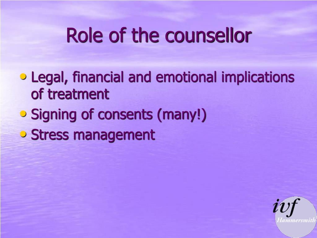 the role of a counsellor is The role of counsellor usually exists in mid-sized or larger organisations, as a  support to the qualified person responsible for training (qprt), where it would be .