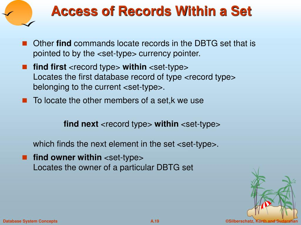 Access of Records Within a Set