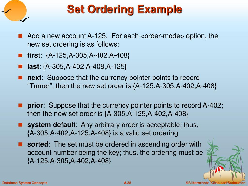 Set Ordering Example